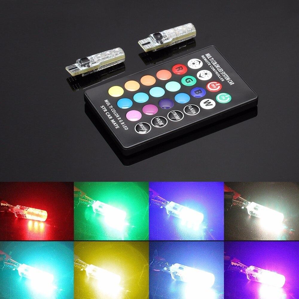 Зеленый-Л Т10 W5W и 194 сигнала автомобиля света 12V авто интерьер свет для автомобиля клиренса RGB с дистанционным управлением Силиконовой стороны поворота лампы