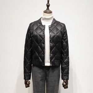 Image 4 - Fitaylor קל במיוחד לבן ברווז למטה מעילי סתיו חורף נשים בתוספת גודל 3XL O צוואר מעיל Slim קצר חם למטה מעילים