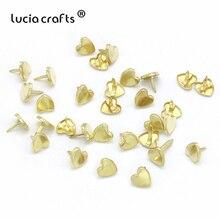 Lucia crafts 50 шт 9 мм золотые железные сердце штифтики для скрапбукинга, украшение из металла ручной работы DIY украшения аксессуары G0910
