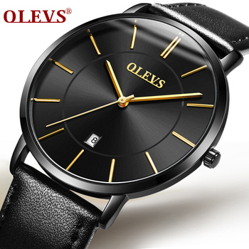 OLEVS 2018 Fashion Simple Men Watch Waterproof Ultra thin Cool Black Quartz Watches Men with Date Week Wristwatch Zegarek Meskie