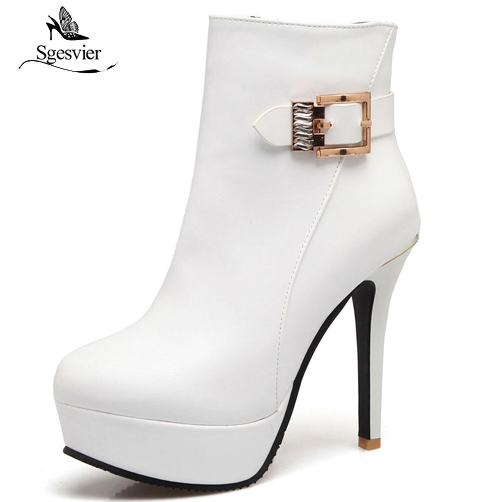 Sgesvier New 2018 Women Ankle Boots PU Leather Fashion High Heels Sexy Red White Platform Wedding Party Ladies Shoes Woman OX675 cuculus 2018 women boots fashion pu leather round toe ankle boots sexy lace ladies high heels platform shoes woman 331