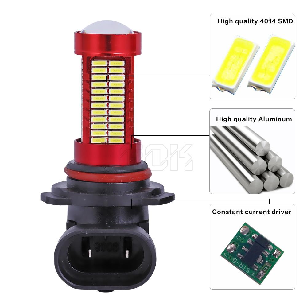 10pcs HB4 HB3 9006 9005 106SMD 4014 LED Sis lampası AUTO işləyən - Avtomobil işıqları - Fotoqrafiya 5