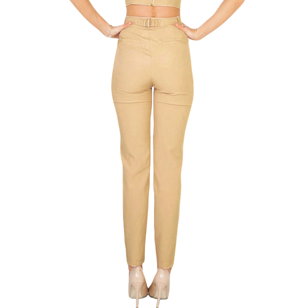 Apparel Zipper Casual Pants 2017 New Summer High Waist Suit Pants Women Bottoms Belt Female Harem Pants Capri Trousers