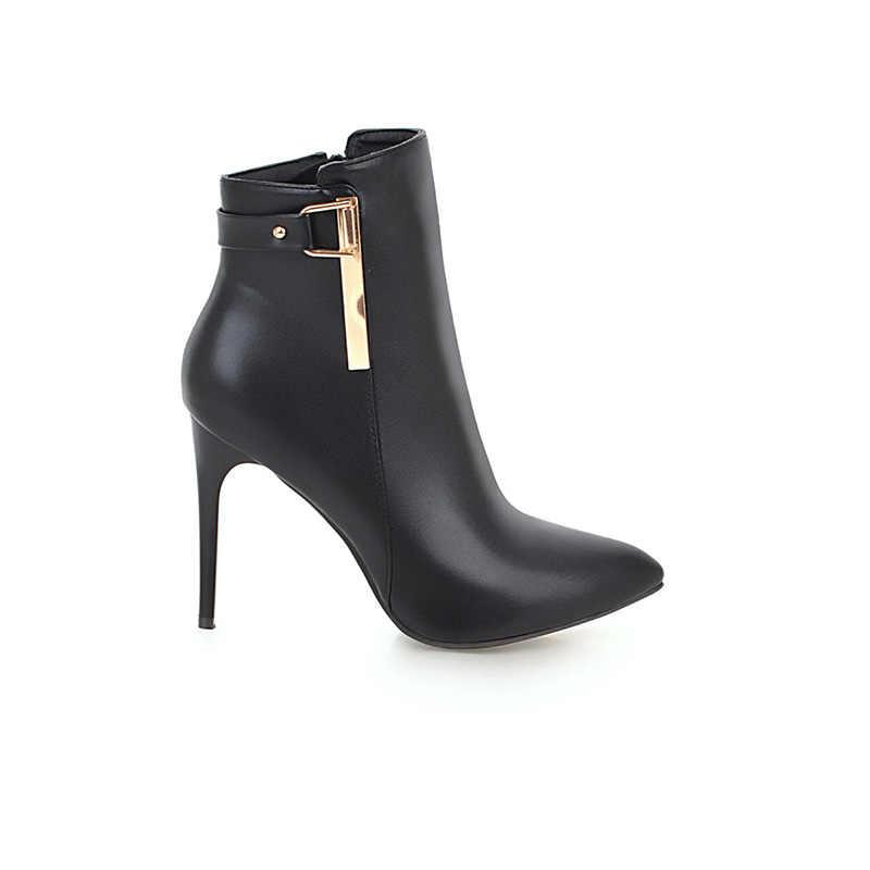 WETKISS Ayakkabı Kadın 2018 Sonbahar Kadın yarım çizmeler Pu Sivri Burun Ayakkabı Ince Yüksek Topuklu Bayan Ayakkabıları Kürk Kadın Çizme Artı boyutu