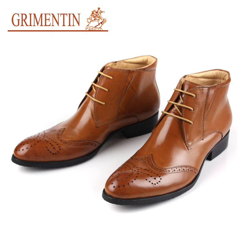 GRIMENTIN Hot Sale Fashion British Designer Mens Ankle Boots Genuine Leather High Top Men Dress shoes