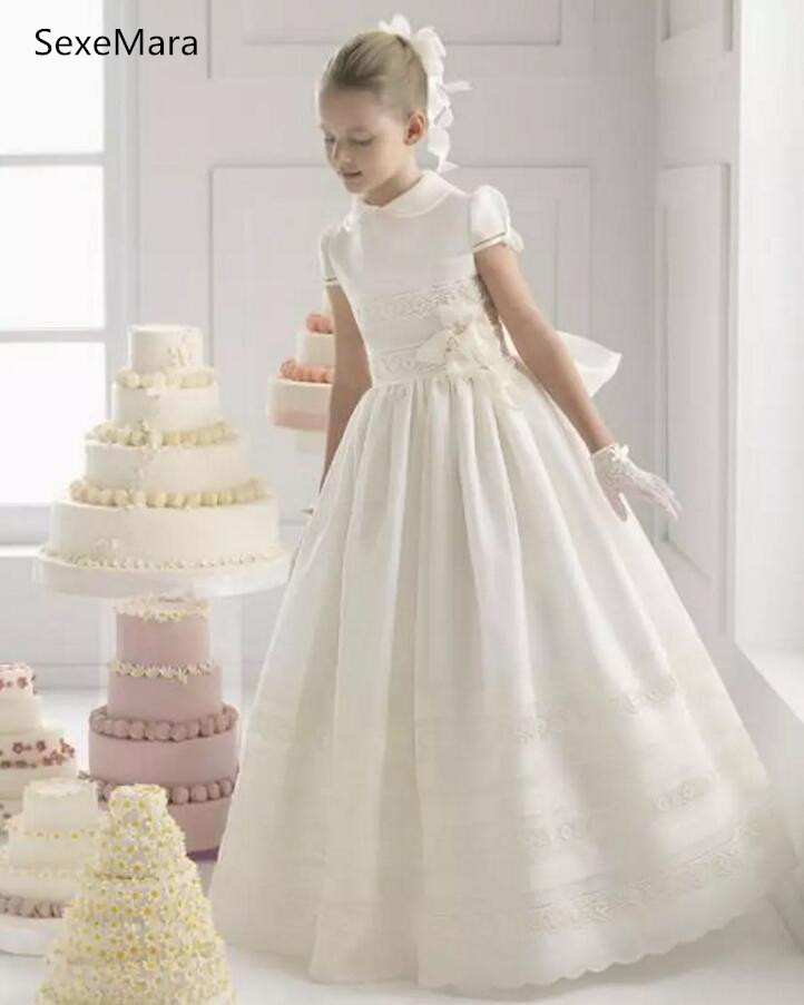 2018 Lovely Flower Girls Dresses Beautiful Lace Collar Sash Flowers Short Sleeve Ankle Length Birthday Dress Communion Gown casual skew collar short sleeve bodycon dress