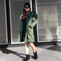 Deep Green Fashion Long Germany Style, Thickness Fur Mr Mrs Army Green Top Brand Factory Sell