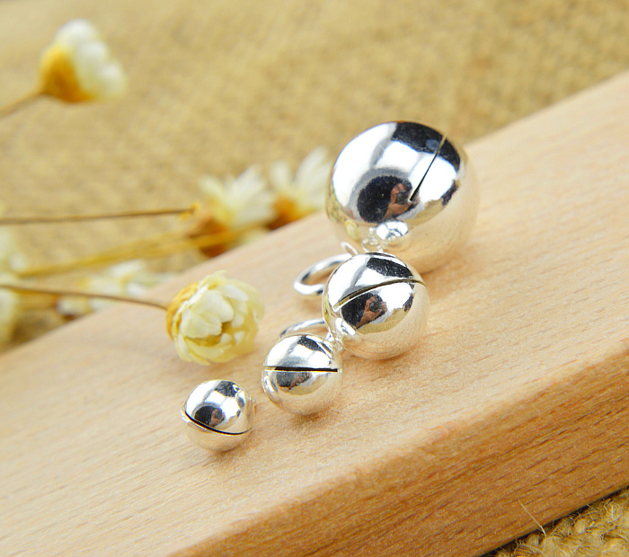 925 Sterling Silver Round 5~10mm Bell Bear Spacer Bead Charm DIY A2530