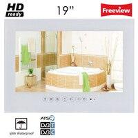 Souria 19 дюймов IP66 Водонепроницаемый Ванная комната светодиодный ТВ Водонепроницаемый настенный плоский Экран ТВ черный/белый душ ТВ