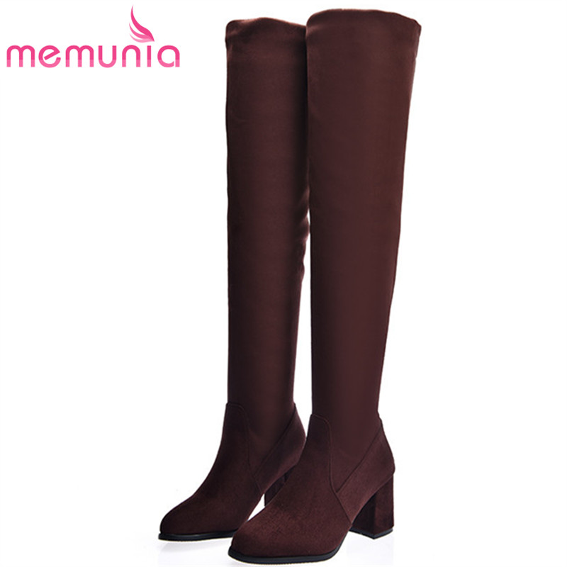 MEMUNIA Two colors over the knee boots square heels shoes woman fashion boots female pointed toe zip solid big size 34-43 memunia top quality over the knee boots fashion elegant womens boots female zip flock solid med heels shoes woman big size 34 44
