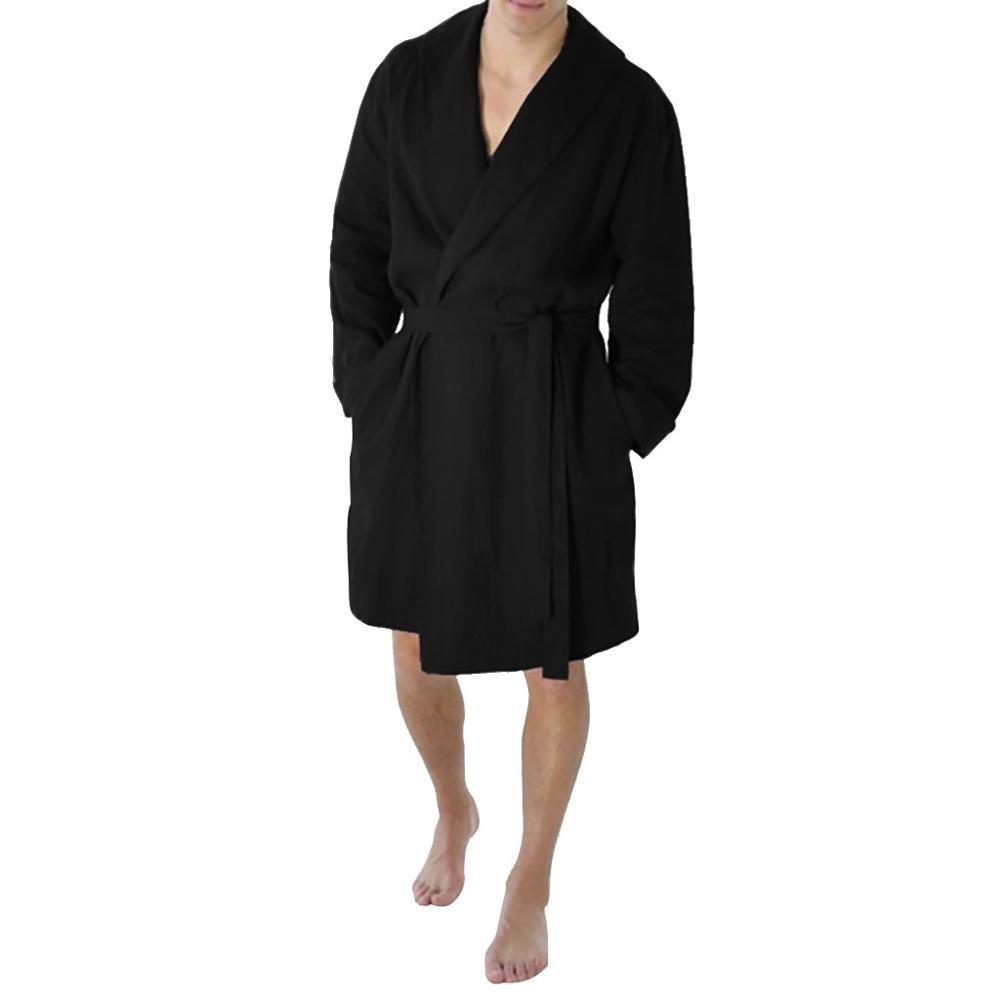 Srogem Men Plus Size Cotton Bathrobes 2019 New Kimono Long Sleeve Sleepwear Nightgowns Homewear Pijama Hombre pijamas(China)