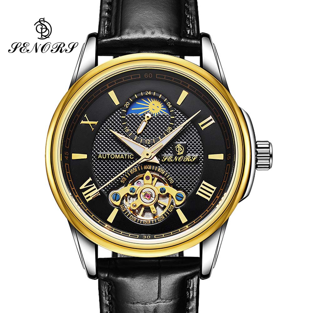 2017 Skeleton Tourbillon Mechanical Watch Automatic Men Classic Gold Leather Mechanical Wrist Watches Reloj Hombre Moon Phase 2017 new top skeleton tourbillon mechanical watch automatic men classic rose gold leather mechanical wrist watches reloj hombre