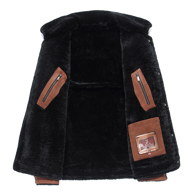 2019 High Quality Leather Jacket Men Faux Leather Coat Mens Leather Jacket Motorcycle Jacket Men Winter Leather Coat Fur Liner - 3