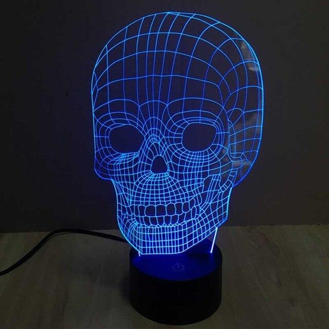 сменные головки черепа ночь настольная лампа невероятно Led 3d с