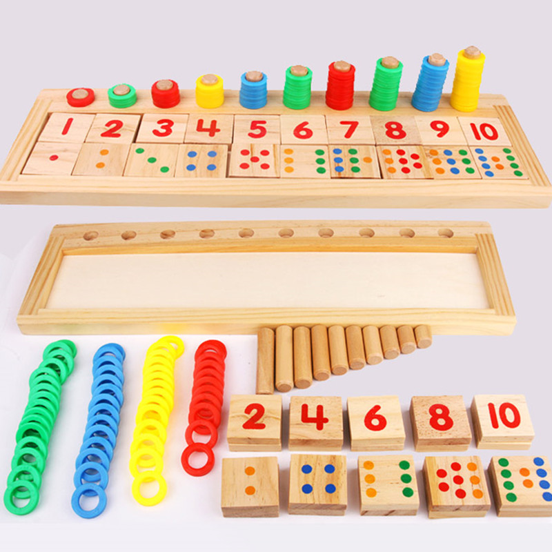 купить Baby Montessori Education Toys Dominos Children Preschool Teaching Aids Counting and Stacking Board Wooden Arithmetic Math Toy недорого