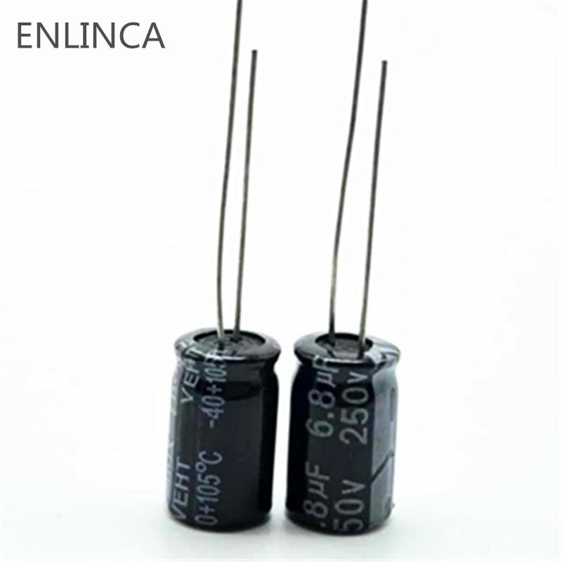 10pcs/lot T35 250v 6.8UF Aluminum Electrolytic Capacitor Size 8*16 250v  6.8UF 20%