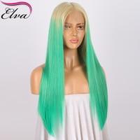 Elva T613/зеленый полный шнурок человеческих волос парики для Для женщин 150% Плотность Прямо бразильский девственные волосы парик с ребенком во