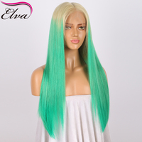Elva T613/Green Full Lace Human Hair Wigs For Women 150% Density Straight Brazilian Virgin Hair Full Lace Wig With Baby Hair