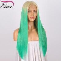 Elva T613/Groen Full Lace Menselijk Haar Pruiken Voor Vrouwen 150% dichtheid Straight Braziliaanse Virgin Haar Volledige Kant Pruik Met Baby haar