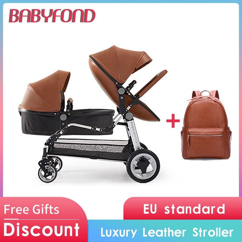 ¡Libre de impuestos de la UE! Cochecito de bebé gemelos recién nacidos de lujo de alto paisaje de cuero prams plegable puede sentarse doble cochecito de bebé 13 piezas
