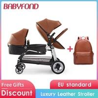 EU tax free !Newborn twins Baby stroller Luxury high landscape leather prams folding can sit lying double baby stroller 13pcs