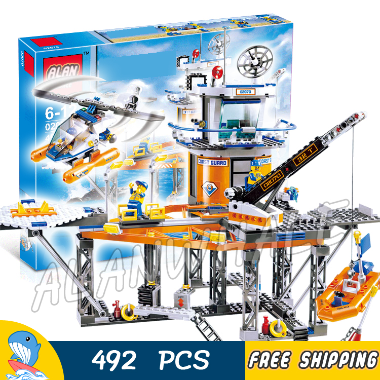 492pcs City Deep Sea Drilling platform Coast Guard Boat Helicopter 02070 Model Building Blocks Toys Bricks Compatible With Lego lepin 02070 492pcs city series coast guard model building blocks bricks toys for children gift
