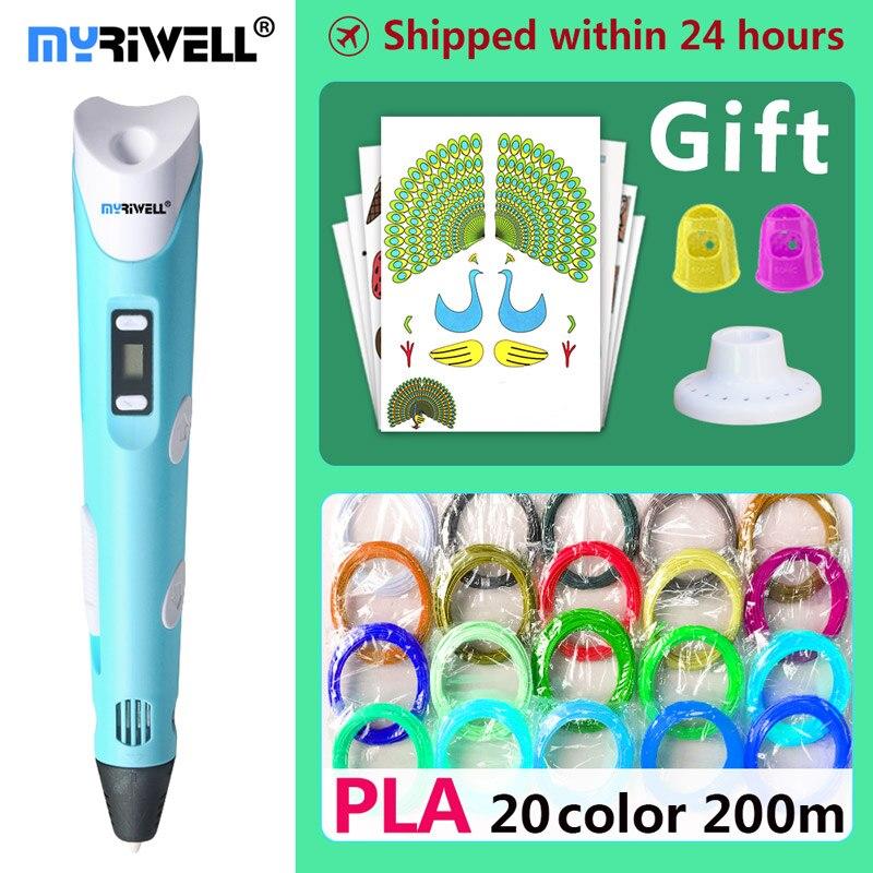 Myriwell 3d Ручка 3d ручки, Дети Рождественский подарок на день рождения present1.75mm ABS/PLA нити, 3d модель, 3d принтер pen-3d волшебная ручка,
