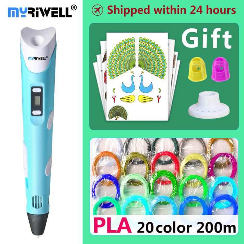myriwell 3d pen 3d pens,Kids Christmas present birthday present1.75mm ABS/PLA Filament, 3d model,3d printer pen-3d magic pen, myriwell magic 3d printer pen 1 75mm abs pla pcl 100m 200m filaments 3d pen kids intelligence education gifts 3d doodle pen