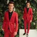 Custom Made Fashion Red Groom Tuxedos Slim Fit Blazer Men Suits Pants Coat with Pockets Two Buttons Young Men Tuxedo