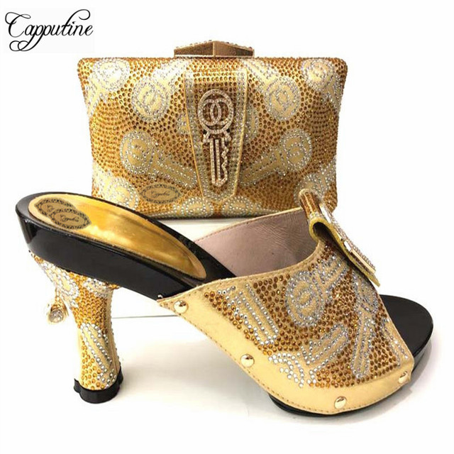 d5b59a90e3c Capputine African Elegant Ladies Gold Shoes And Bag Set For Party Italian Rhinestone  High Heels Shoes And Purse Set For Dress