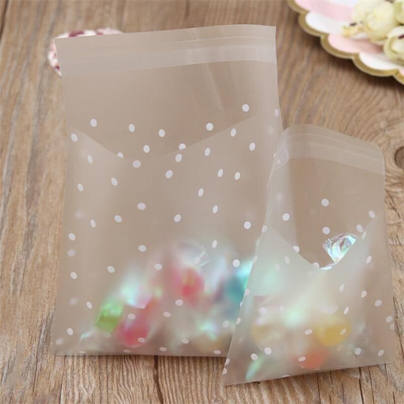 100 stücke Kleine Kunststoff Taschen Frosted Transparent Zellophan Tasche Partei Goodies Geschenk Taschen Candy Cookie Beutel Polka Dot