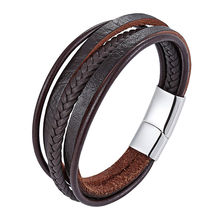 New Style! Latest Popular Multi-layers Leather Bracelet For Men Male Charm Vintage Jewelry Stainless Steel Fashion Bangles Gifts