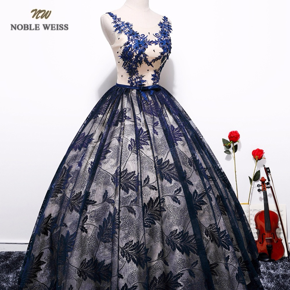 NOBLE WEISS Ball Gown Prom Dresses Appliques Beading Robe De Soiree Sexy Black Lace Prom Gown