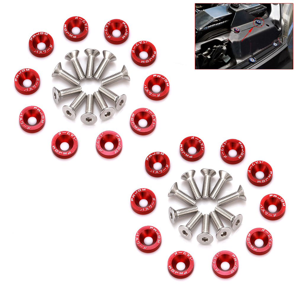 20 Pcs Red Car Screw M6 Washer Screw Hex Fasteners Modification Engine Concave Screws Fender Washer Bumper Automobile screws