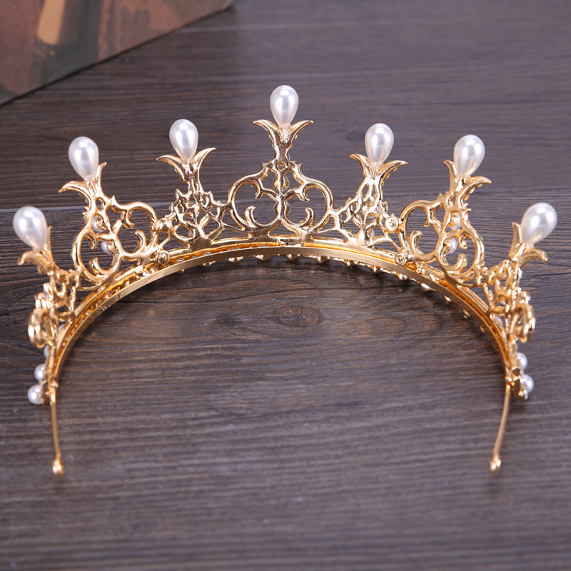 2018 New Korean Pearl Crown Princess Rhinestone Wedding Tiara Birthday Party Bridal Hair Accessories Wholesale Hairbands Jewelry