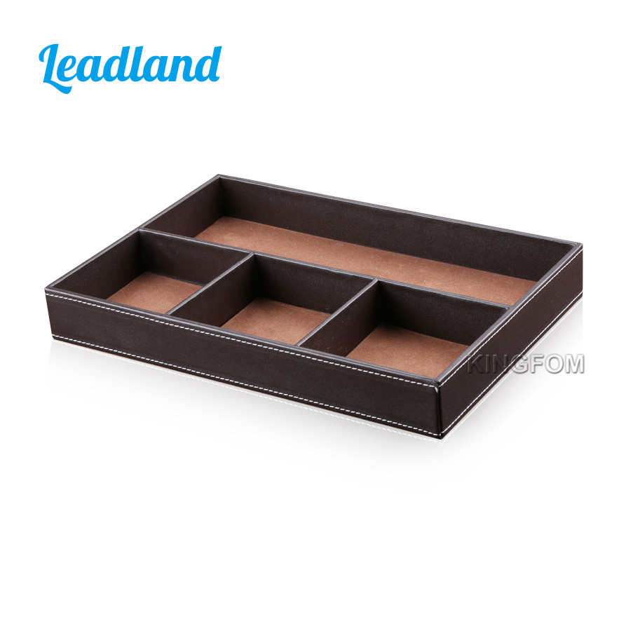 Kingfom Pu Leather Wooden Structure Office Desktop Organizer Stationery Box For Pen Pencil Ruler Paper Notes A119