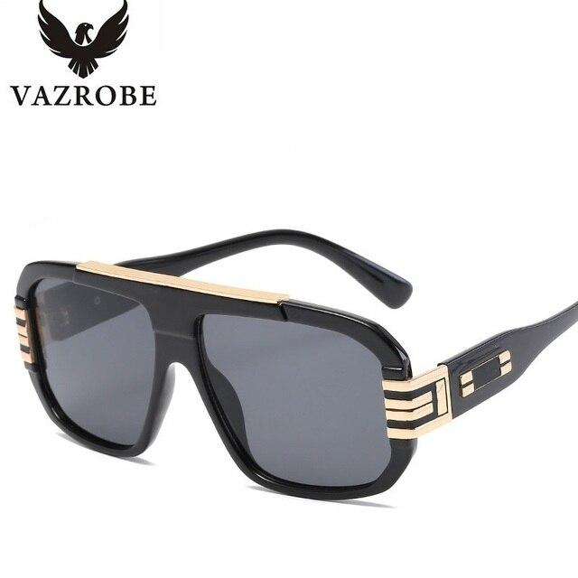 08621c22a8a Vazrobe Luxury Brand Designer Men s Sunglasses Oversized Sun Glasses for Men  Gold Male Square Big Shades