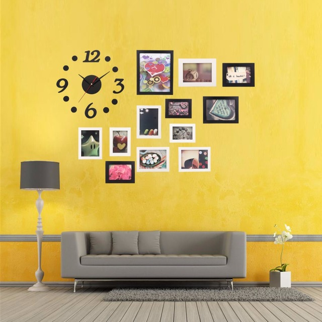big sale modern diy home decor office wall hanging display picture photo frames set with clock - Home Decor For Sale