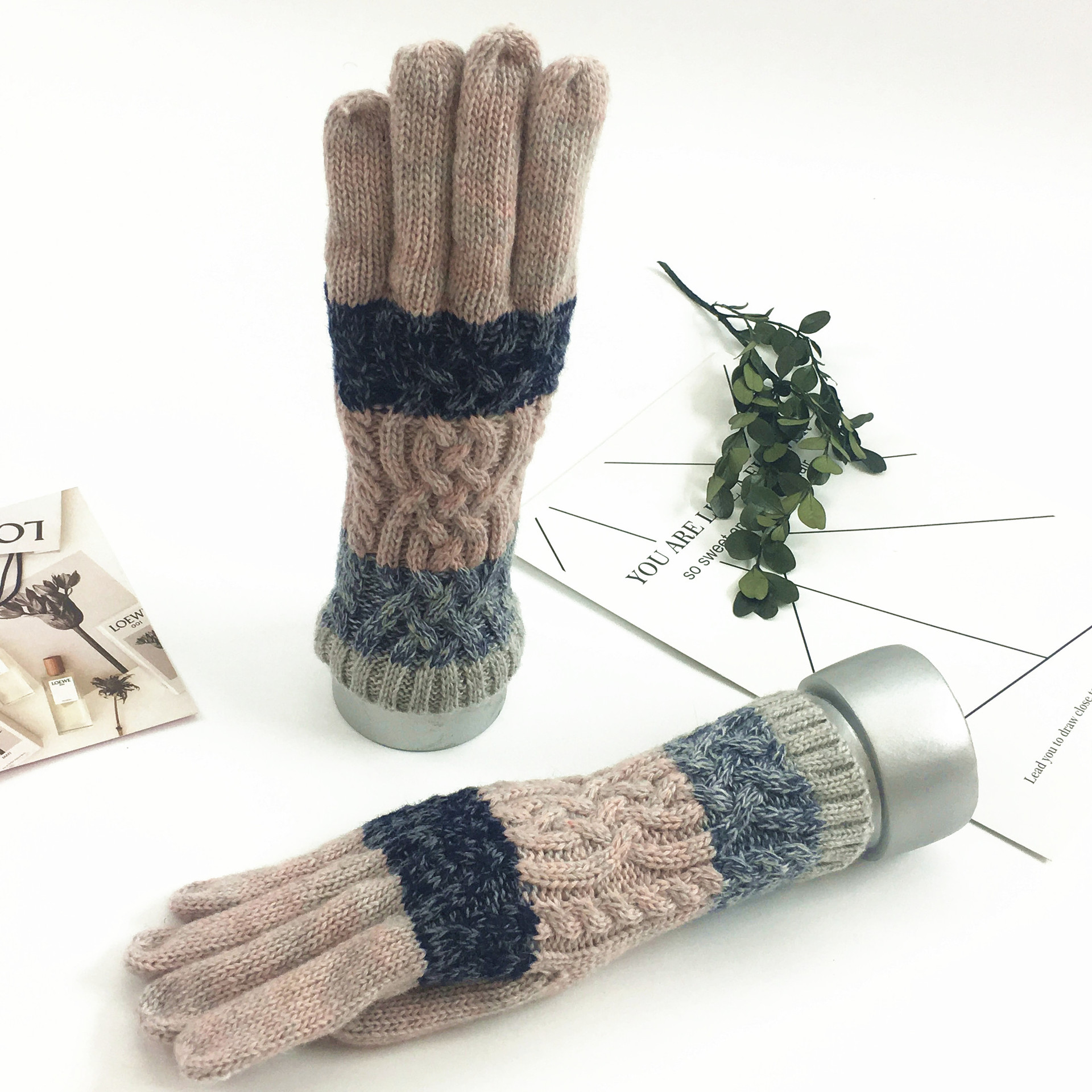 Winter Gloves Women Men Knitting Warm Stretch Knit Mittens Wool Full Finger Guantes Female Crochet Mitt