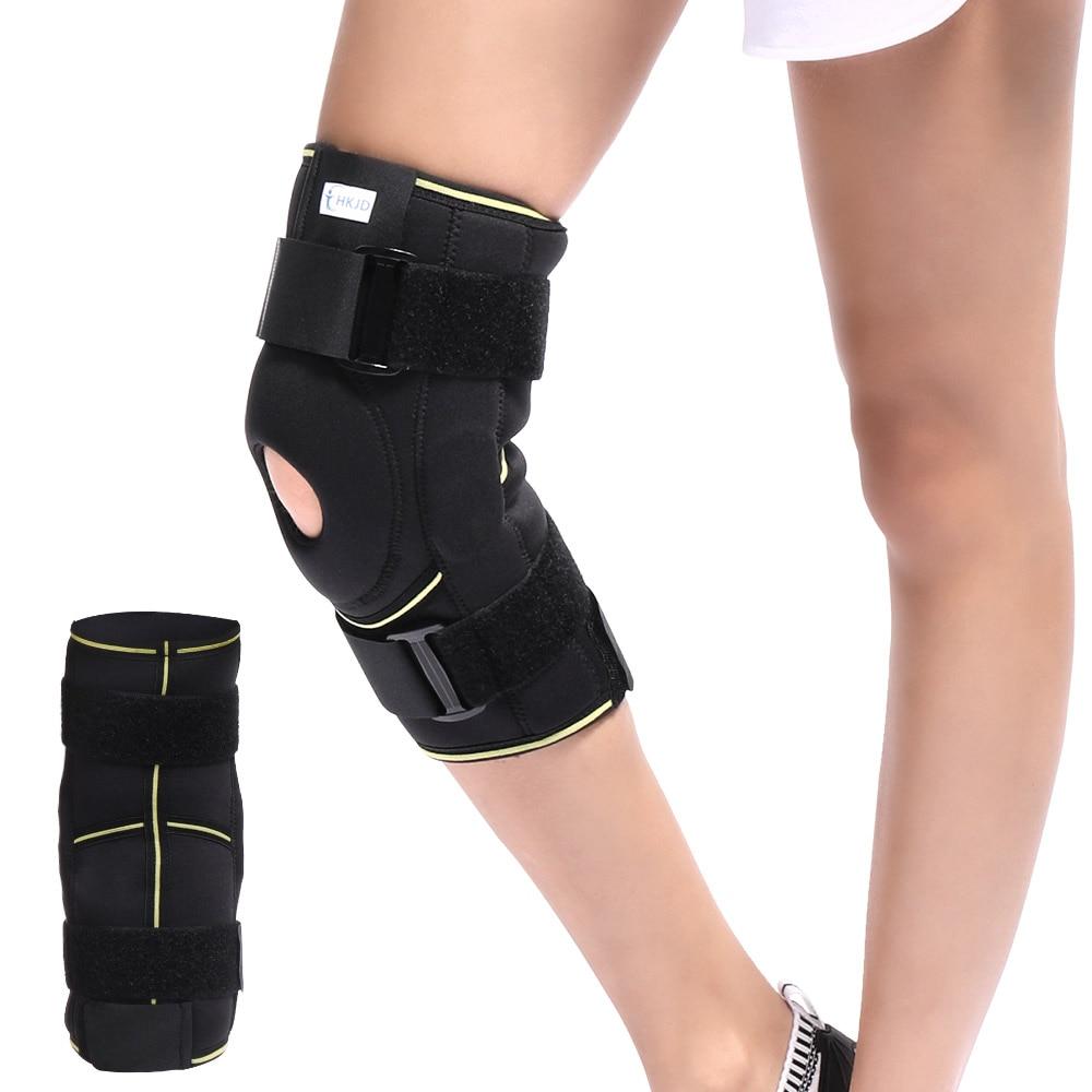 <font><b>Knee</b></font> Brace Soft Hinged <font><b>Knee</b></font> Patella Brace Support Stabilizer Pad Belt Band Strap Orthosis Splint Wrap Compression Sleeve