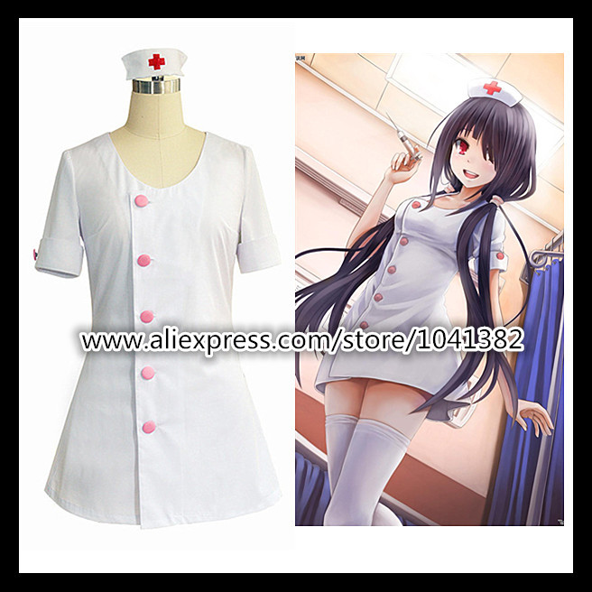 DATE A LIVE Cosplay robe Anime personnages cauchemar Cosplay Costumes Sexy infirmière uniforme COS blanc court jupe femme de chambre Outfi