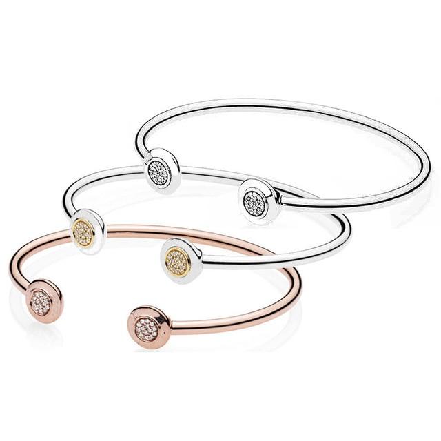 516b124520dc Rosa de oro y plata logotipo firma con brazalete cristal Pandora serpiente pulsera  925 esterlina del encanto grano la joyería