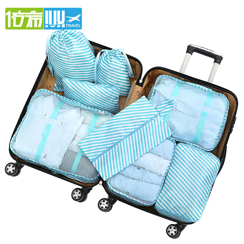 IUX New 8PCS/Set High Quality Oxford Cloth Travel Mesh Bag In Bag Luggage Organizer Packing Cube Organiser For Clothing