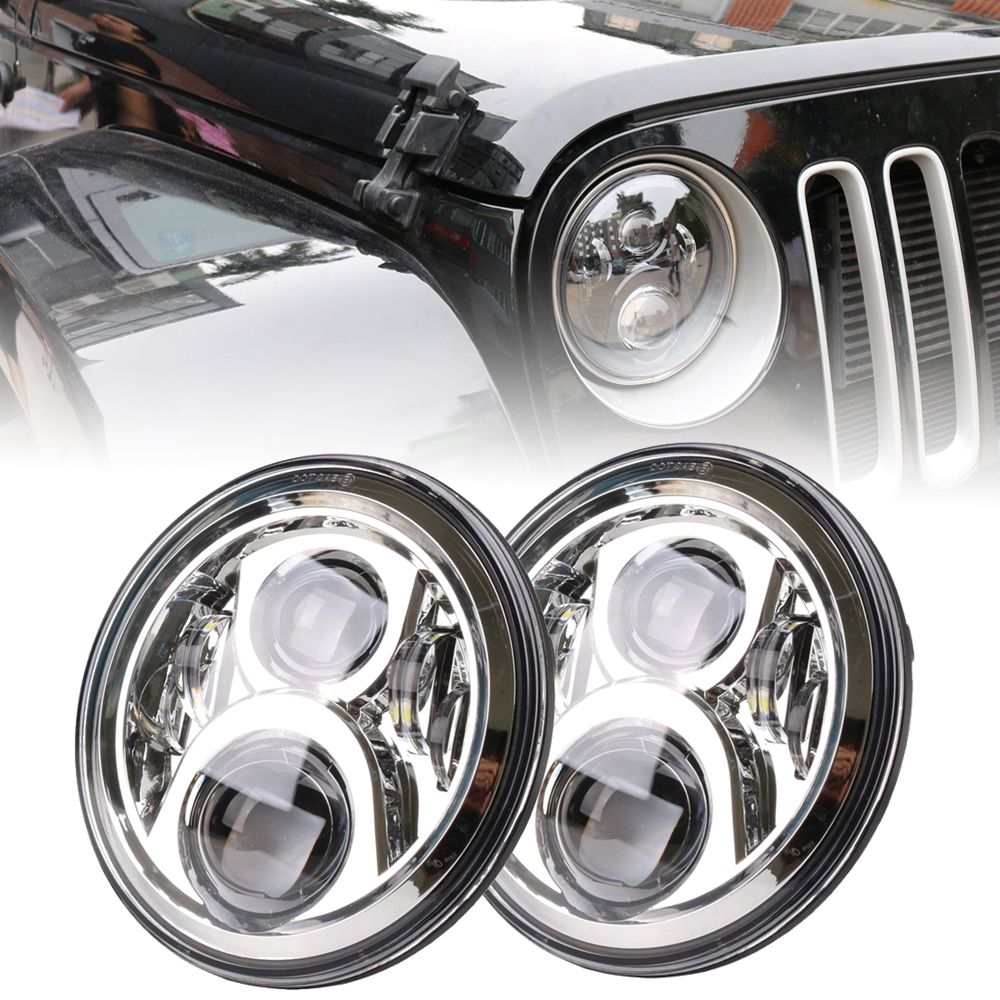 2 Pcs 7 Inch Car LED H4 High/Low Beam Headlight Kit for Jeep Wrangler JK TJ Hummer Defender Hummer 7 Harley Davidson Softa 1pcs 7 80w headlamp led headlight with drl for jeep wrangler jk tj fj harley off road lights high low beam new free shipping