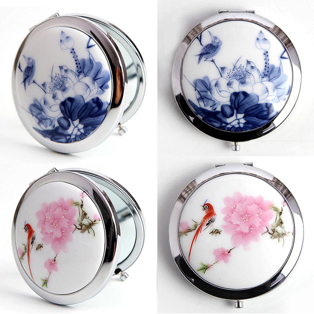 In QualitäT Make-up Spiegel China Malerei Stil Spiegel Makeuptool Keramik Und Glas Mini Make-up Compact Taschen Spiegel Kosmetik Spiegel Ausgezeichnete ZuverläSsig 1