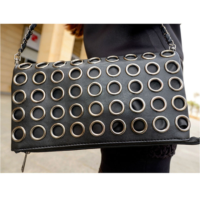 Fashion Style PU Leather Handbag Famous Brand Retro Rivet Tote Bag Lady wallet Clutch Female Purse Evening Bag LH72