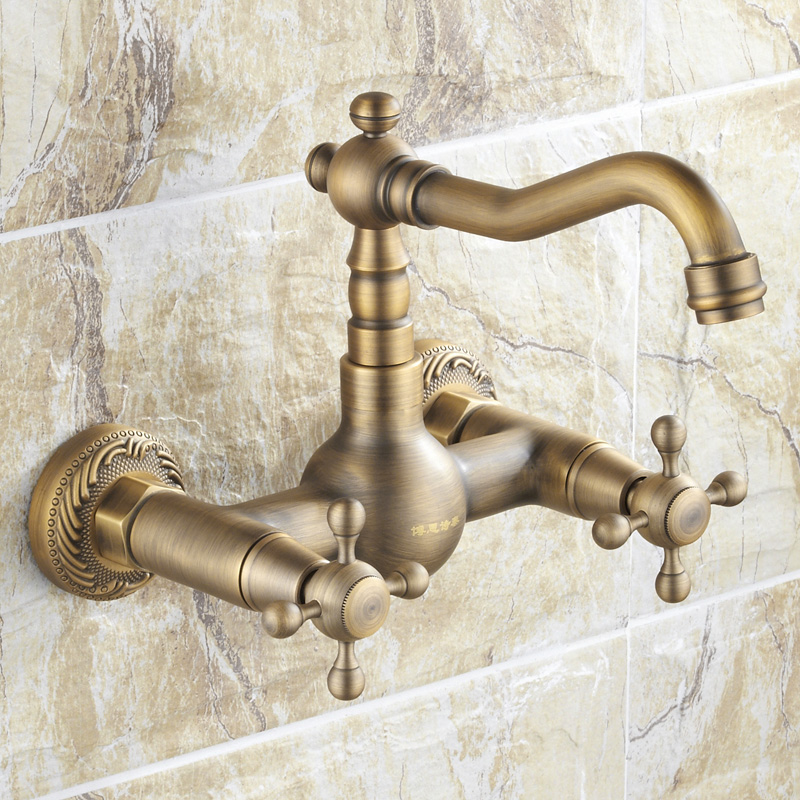 wall taps full copper antique wall leading European hot and cold water tap basin faucet mixer kitchen sink faucets