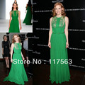 Free shipping!!!Jessica Chastain green a line jewel neck chiffon design celebrity dress evening gown CD021
