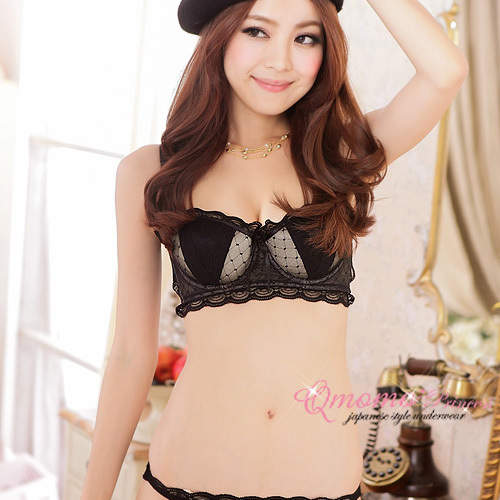 95e3e9146becb Online Shop Lolita Style Temptation Lace Vest Type 1 2 Half Cup Sexy Push  Up Bra Three Button Adjustment Underwear Bra Set free shippping