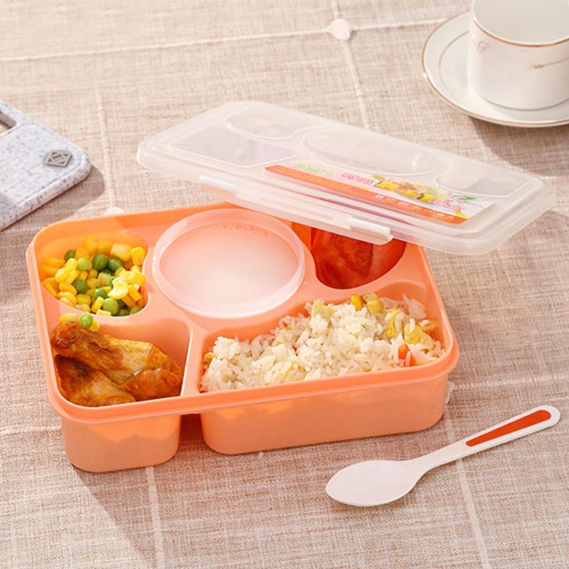 Lunch Box Microwave 5 Compartments With Soup Bowl Spoon Bento Box Food Container
